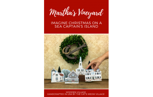 "Decorate a niche in your home with this Martha's Vineyard Christmas Series handcrafted in 3/4"" thick wood by The Cat's Meow Village"