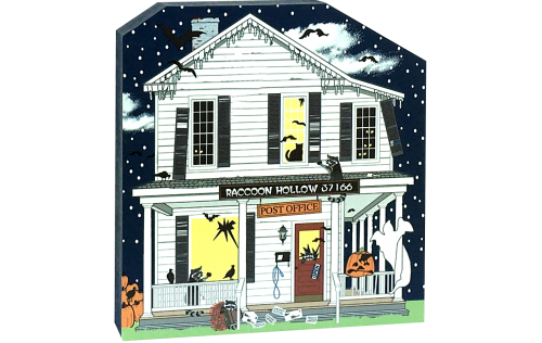 Hope your mail didn't get lost at the Raccoon Hollow Post Office! Handcrafted with glow-in-the-dark surprises by The Cat's Meow Village and made in the USA.