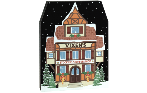 Vixen's Stocking Stuffer Shop adds a bit of whimsy to The Cat's Meow Village North Pole Collection. Made in the USA.