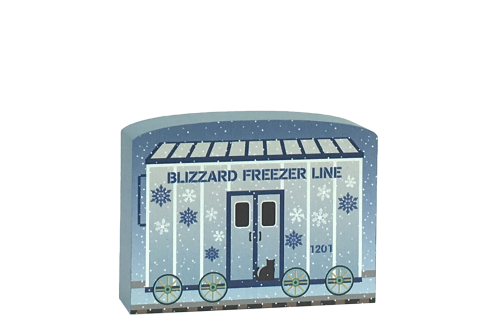 North Pole Limited - Blizzard Freezer Car to add to your holiday decor. Handcrafted in the USA by The Cat's Meow Village.
