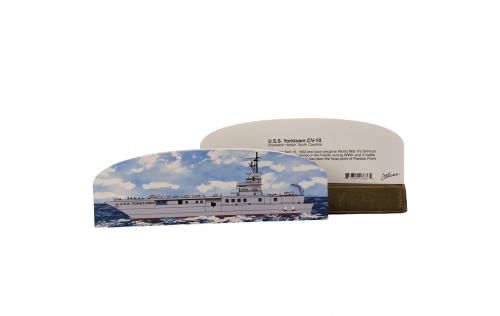 """Front & Back of Handheld wooden replica of the USS Yorktown you can add to your home or office decor to remember your trip to Charleston, SC. Handcrafted in the USA of 3/4"""" wood with colorful details on the front and history on the back."""