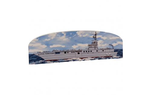 """Handheld wooden replica of the USS Yorktown you can add to your home or office decor to remember your trip to Charleston, SC. Handcrafted in the USA of 3/4"""" wood with colorful details on the front and history on the back."""