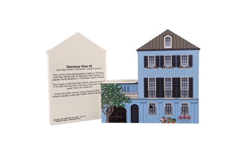 "Front & Back of Rainbow Row house to add to your home decor to celebrate the day you laid your eyes on this beautiful row of pastel houses known as Rainbow Row in Charleston, SC. Handcrafted in the USA by The Cat's Meow Village of 3/4"" thick wood."