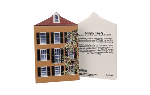 "Front & Back of this wooden replica of this Rainbow Row house to add to your home decor to celebrate the day you laid your eyes on this beautiful row of pastel houses known as Rainbow Row in Charleston, SC. Handcrafted in the USA by The Cat's Meow Village of 3/4"" thick wood."