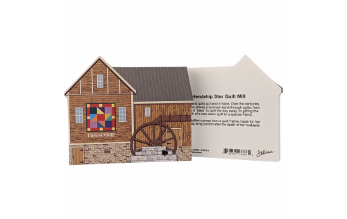 "Front & Back of Friendship Star Quilt Mill for your home decor, handcrafted by The Cat's Meow Village in the USA from 3/4"" thick wood. Purrfect size to add to a bookcase or mantel."