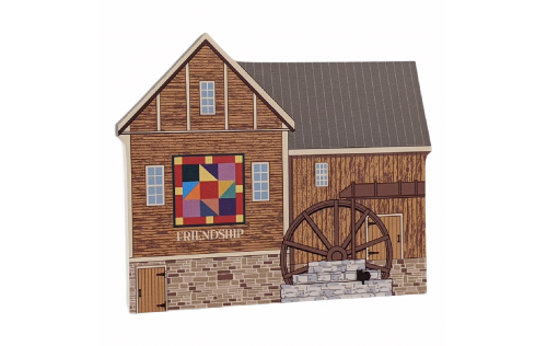 "Friendship Star Quilt Mill for your home decor, handcrafted by The Cat's Meow Village in the USA from 3/4"" thick wood. Purrfect size to add to a bookcase or mantel."