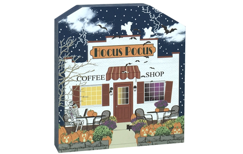 Show off your Halloween spirit with this wooden Hocus Pocus Coffee Shop shelf sitter. We handcraft it in Wooster, Ohio. It includes glow-in-the-dark surprises!