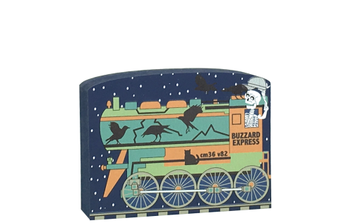 "This Cat's Meow Village Buzzard Express engine is part of a 5-piece Halloween train set. We handcraft it from 3/4"" thick wood in our Wooster, Ohio workshop."