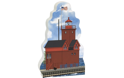 Add this wooden replica of the Big Red Lighthouse in Holland, Michigan to your home decor, handcrafted in the USA by The Cat's Meow Village