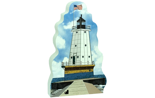 """Replica of the Ludington North Breakwater Light handcrafted in 3/4"""" thick wood by The Cat's Meow Village in Wooster, Ohio."""