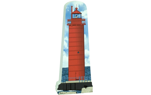 """Replica of the Muskegon South Pierhead Lighthouse handcrafted in 3/4"""" thick wood by The Cat's Meow Village in Wooster, Ohio."""