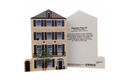 Front & Back of replica of Rainbow Row House #2.  Handcrafted by Cat's Meow Village, USA.