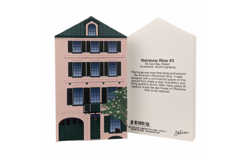 Front & Back of replica of Rainbow Row House #3.  Handcrafted by Cat's Meow Village, Wooster, Ohio.