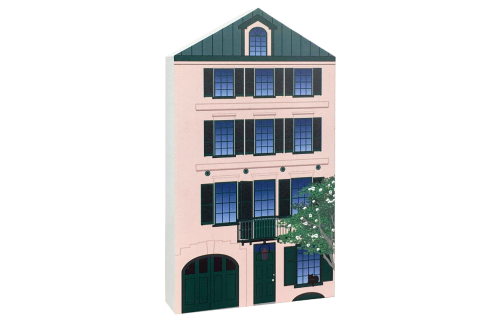 Remember your trip to Charleston, SC with your very own replica of this Rainbow Row house. We handcraft it in all its colorful details in Wooster, Ohio. By The Cat's Meow Village