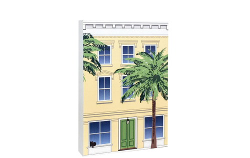 Remember your trip to Charleston, SC with your very own replica of this Rainbow Row house. We handcraft it in all its colorful details in Wooster, Ohio. By The Cat's Meow Village.