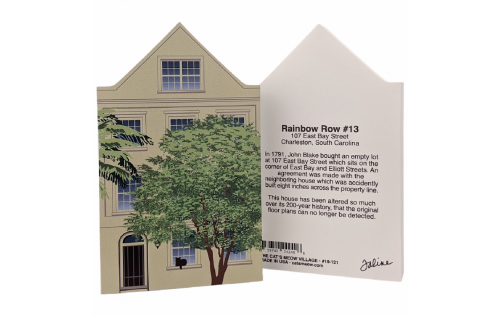 Front & Back of Rainbow Row House #13, Charleston, SC.  Handcrafted in Wooster, Ohio, by Cat's Meow Village.