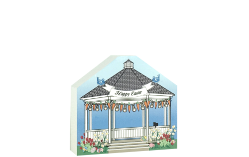 "Add this 3/4"" thick wooden Easter Gazebo to your home decor. Handcrafted by The Cat's Meow Village in Wooster, Ohio."