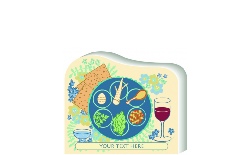"Passover Seder Plate replica you can personalize to share with family. Handcrafted in 3/4"" thick wood by The Cat's Meow Village in Wooster, Ohio."