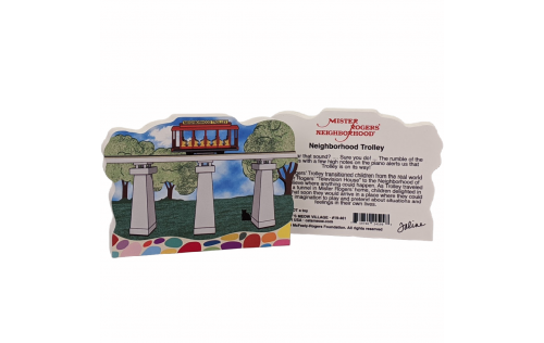 "Front & back of the Beautifully colorful and detailed replica of Mister Rogers, Neighborhood Trolley. Handcrafted in 3/4"" thick wood by The Cat's Meow Village in the USA."