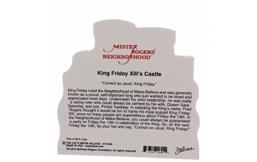 Back of Mister Rogers, King Friday XIII's Castle handcrafted by Cat's Meow Village, Wooster, Ohio.