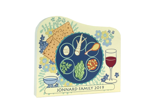 "Example of a Passover Seder Plate replica you can personalize to share with family. Handcrafted in 3/4"" thick wood by The Cat's Meow Village in Wooster, Ohio."