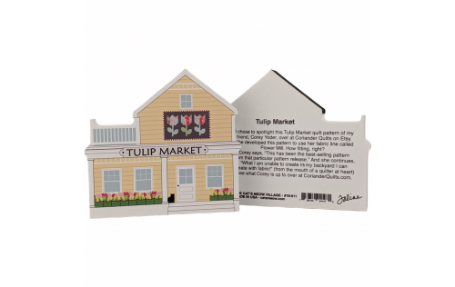 """Front & Back of Tulip Quilt Market handcrafted of 3/4"""" thick wood by The Cat's Meow Village in Wooster, Ohio."""
