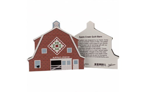 """Front & Back of Apple Creek Quilt pattern barn handcrafted of 3/4"""" thick wood by The Cat's Meow Village in Wooster, Ohio."""