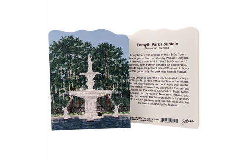 Front & Back of the replica of Forsyth Park Fountain in Savannah, Georgia.  Handcrafted by Cat's Meow Village, USA.
