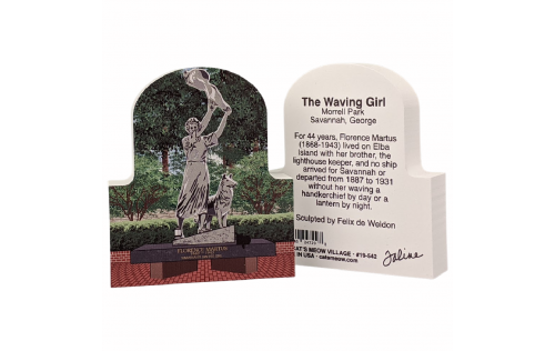 Front & Back of of the Waving Girl statue, Florence Martus, Savannah, Georgia.  Handcrafted by Cat's Meow Village, Wooster, Ohio.