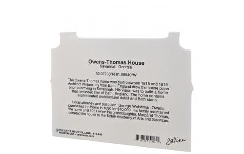 Back description of the replica of the Owen's-Thomas House, Savannah, Georgia