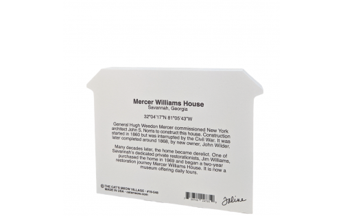 The back description of a replica of the Mercer House, Savannah, Georgia