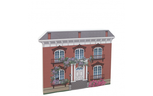 """The beautifully detailed and colorful front of the Mercer House, Savannah, Georgia.  Handcrafted in 3/4"""" thick wood by The Cat's Meow Village in the USA."""