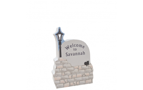 "Welcome to Savannah sign, Savannah, Georgia.  Handcrafted in 3/4"" thick wood by The Cat's Meow Village in the USA."