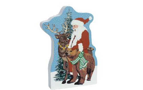 "Wilderness Santa handcrafted in 3/4"" thick wood by The Cat's Meow Village in Wooster, Ohio."