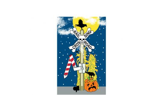 """Add this Railroad Crossing sign to your Halloween decor this year. Handcrafted in Wooster, Ohio from 3/4"""" thick wood by The Cat's Meow Village."""