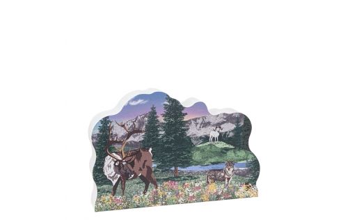 """Three of the Big Five in Denali, Dall Sheep, Caribou, Wolves, Alaska.  Handcrafted in 3/4"""" thick wood by The Cat's Meow Village in the USA."""