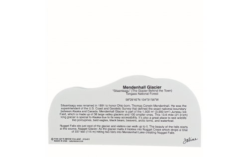 """Back Description of Mendenhall Glacier, Tongass National Forest, Alaska. Handcrafted in the USA 3/4"""" thick wood by Cat's Meow Village."""