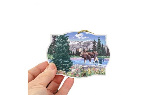 "Detailed scene of moose as one of ""The Big Five"", Denali, Alaska, ornament.  Handcrafted in 3/4"" thick wood by The Cat's Meow Village in the USA."