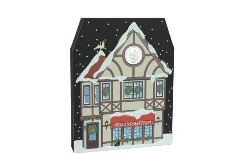 Your holiday decor won't be complete without this glittery North Pole Kitchen Collection shop. Handcrafted by The Cat's Meow Village in the USA.