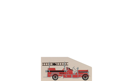 """Vintage 1914 Fire Pumper from Accessories handcrafted from 1/4"""" thick wood by The Cat's Meow Village in the USA"""