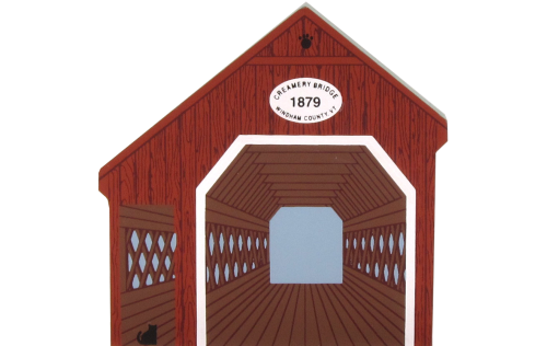 "Vintage Creamery Bridge from Covered Bridge Series handcrafted from 3/4"" thick wood by The Cat's Meow Village in the USA"