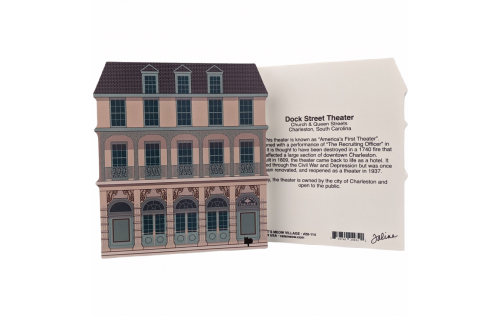 Front & Back of Dock Street Theater, Charleston, SC.  Handcrafted in Wooster, Ohio, by Cat's Meow Village.