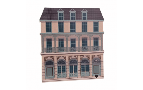 "Replica of Dock Street Theater in Charleston, South Carolina. Handcrafted in 3/4"" thick wood by The Cat's Meow Village in the USA."
