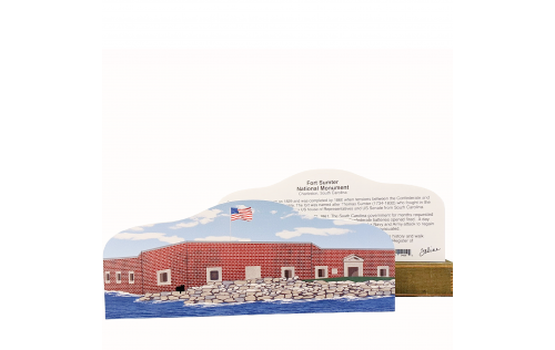 Front & Back of Fort Sumter National Monument in Charleston, South Carolina wooden souvenir handcrafted by The Cat's Meow Village in the USA.