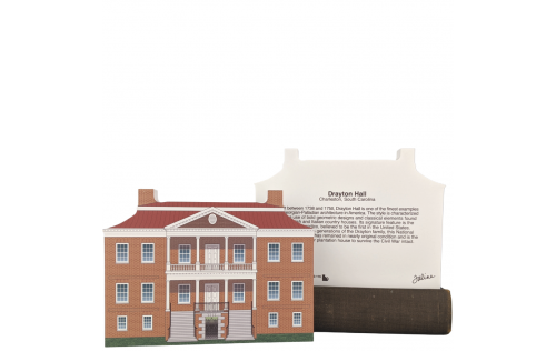 "Front & Back of the Beautifully detailed replica of Drayton Hall, Charleston, South Carolina. Handcrafted in the USA 3/4"" thick wood by Cat's Meow Village."
