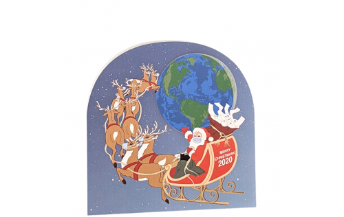 "Santa's flight in 2020 might look different due to Covid, the pandemic and quarantine. Handcrafted in 3/4"" thick wood by The Cat's Meow Village is the USA."