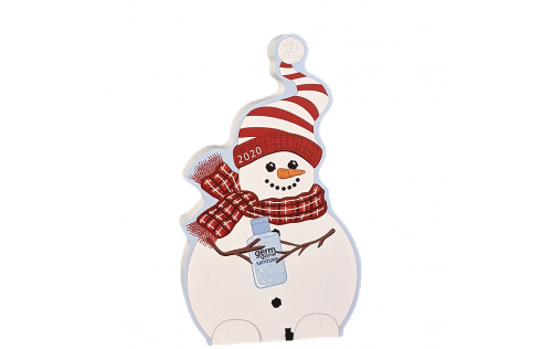 "Add this 2020 snowman to your holiday decor or give it as a gift to remember the year of COVID, pandemic and quarantine. Handcrafted of 3/4"" thick wood by the Cat's Meow Village in the USA."