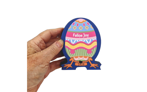 """You can personalize this Furbergé Egg with a name or date. Handcrafted in ¾"""" thick wood for you by The Cat's Meow Village."""