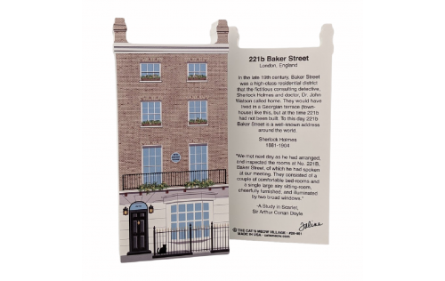 """Front & back of Sherlock Holmes, 221b Baker Street, London, United Kingdom. Handcrafted in the USA 3/4"""" thick wood by Cat's Meow Village."""