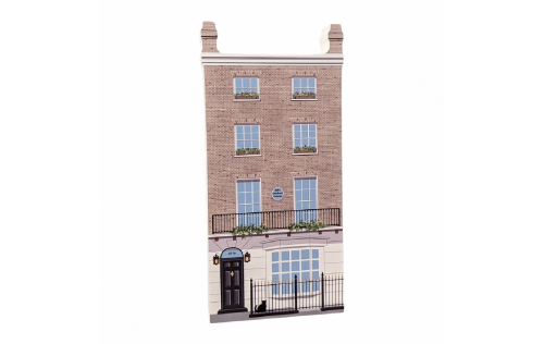 """Sherlock Holmes, 221b Baker Street, London, United Kingdom. Handcrafted in the USA 3/4"""" thick wood by Cat's Meow Village."""